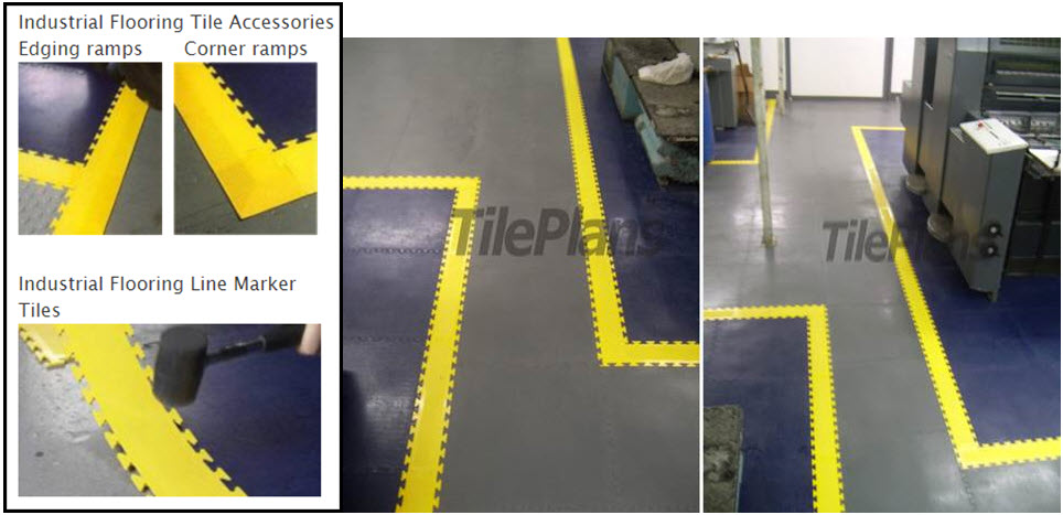 Industrial vinyl floor tiles